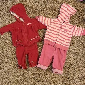 Carters Newborn Baby Girl Matching Sweatshirt Set